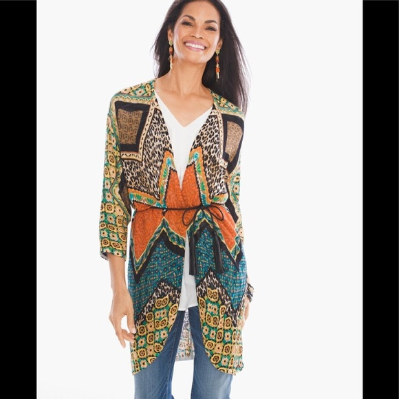 Chico's Sweaters - Chico's Animal Mix Belted Jacket